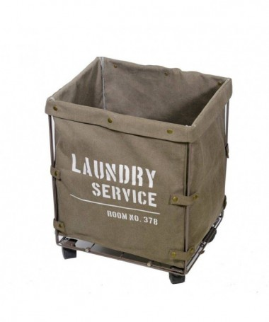 Cestone Laundry in tessuto con rotelle - marrone