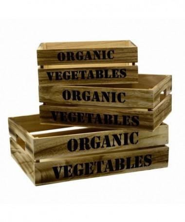Cassetto in legno Organic Vegetables - set da 3