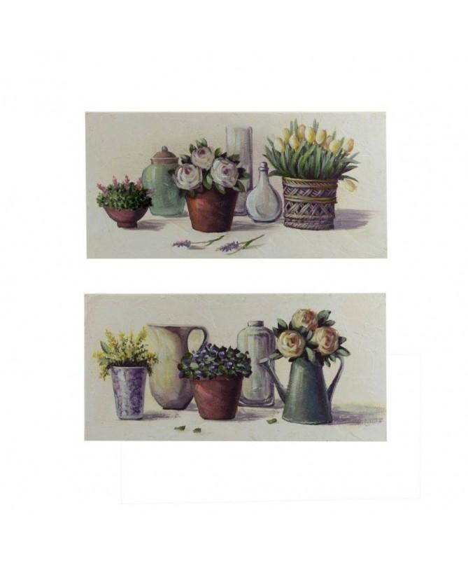 Quadri in legno Vasi e Fiori - set da 2