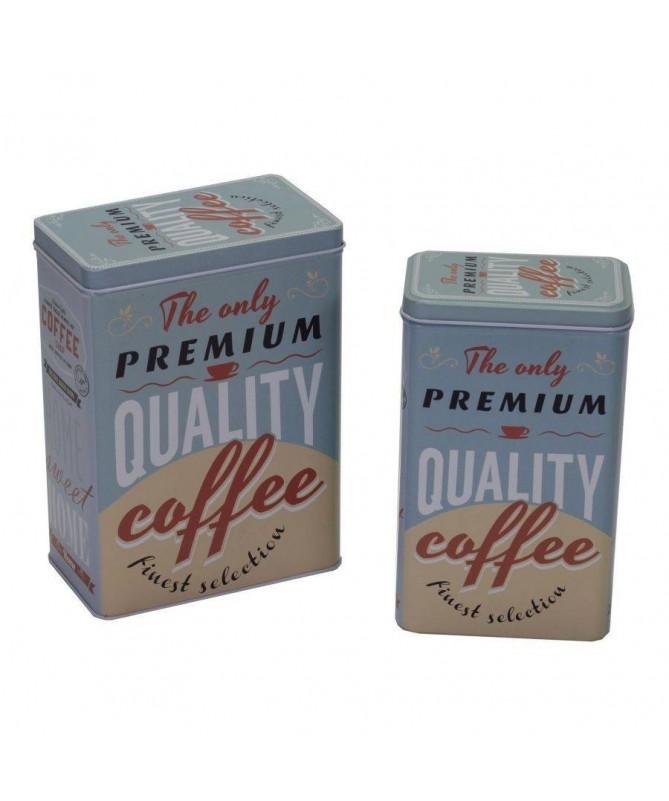 Scatola in metallo Quality Coffee - set da 4 azzurro
