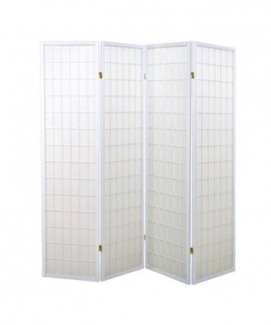 Separè paravento 4 ante Carta di riso con struttura in legno - bianco