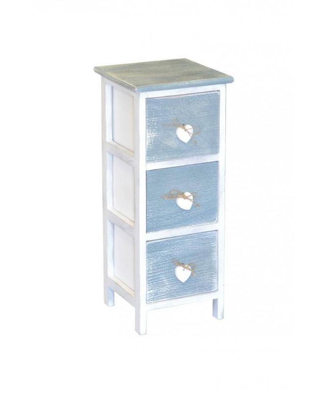 Cassettiera Love Blu in legno verniciato con 3 cassetti