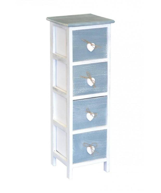 Cassettiera Love Blu in legno verniciato con 4 cassetti