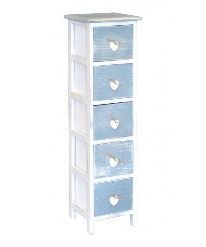 Cassettiera Love Blu in legno verniciato con 5 cassetti