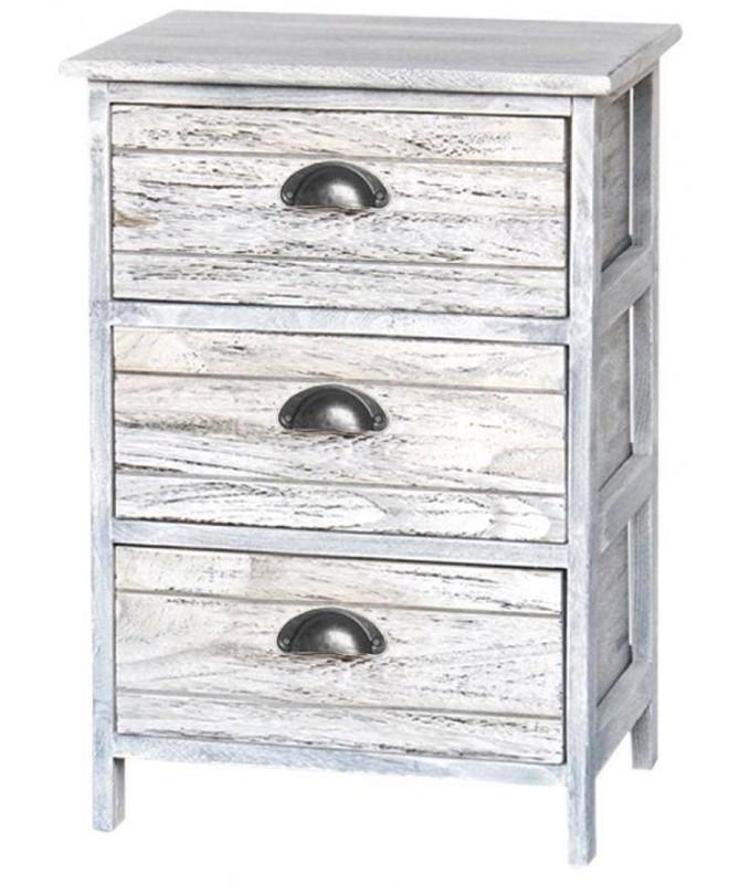 Cassettiera Zoe in legno sbiancato con 3 cassetti