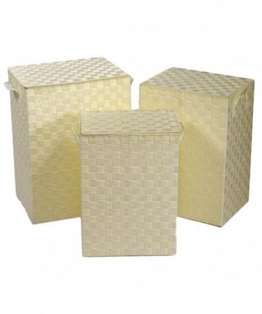 Cestone in poliestere - set da 3 crema