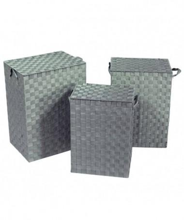 Cestone in poliestere - set da 3 grigio