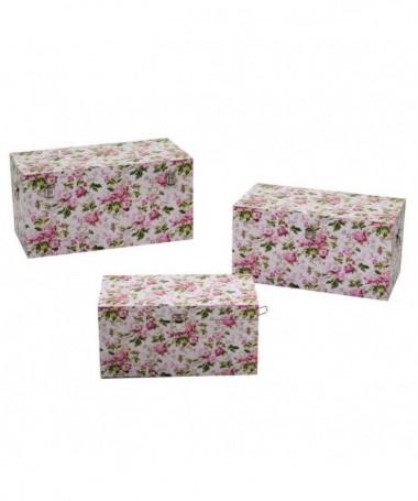 Baule in ecopelle a fiori - set da 3 rosa