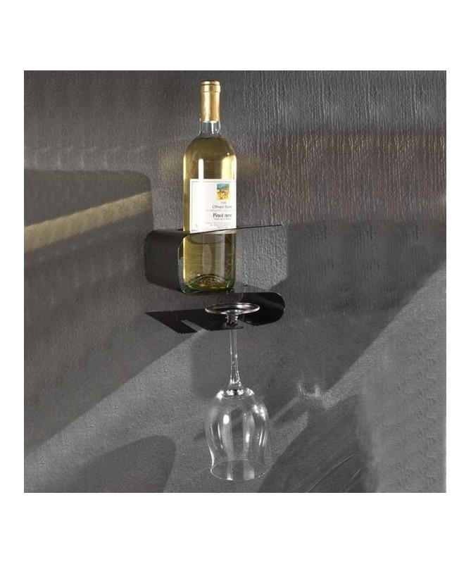 Mensola Osteria porta bottiglia e bicchieri - nera