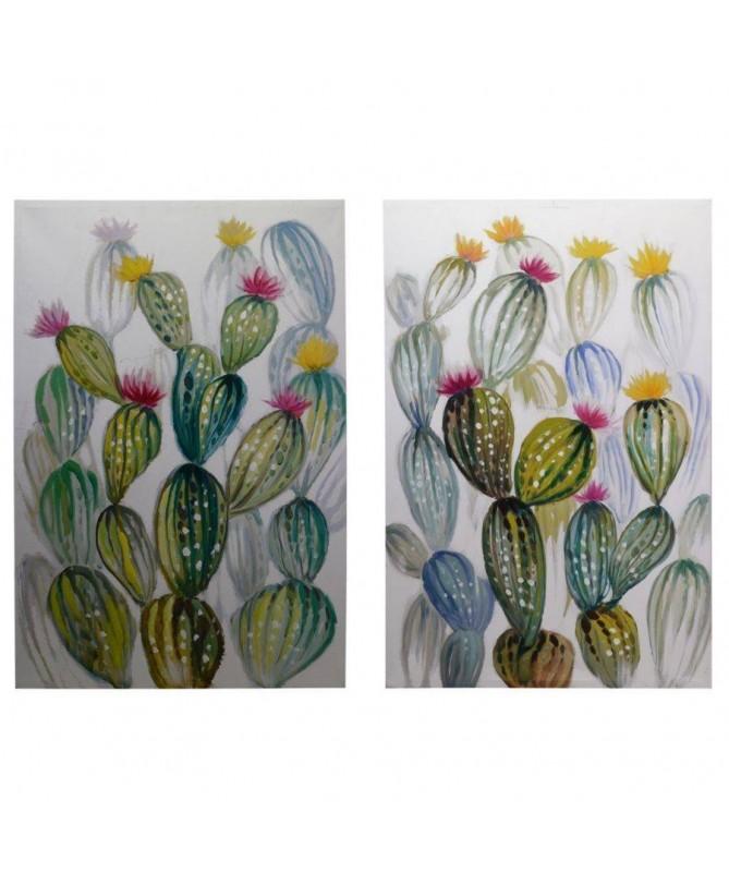 Quadri dipinti Cactus - set da 2