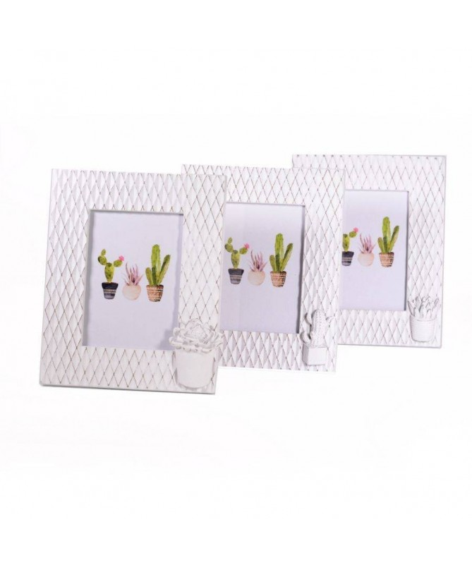 Portafoto verticale da tavolo in legno bianco con cactus- set da 3