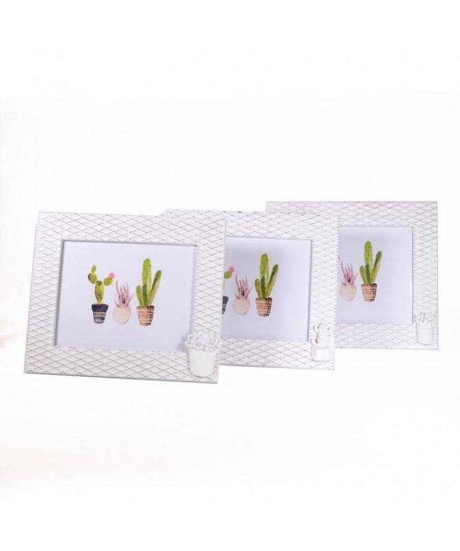 Portafoto orizzontale da tavolo in legno bianco con cactus- set da 3