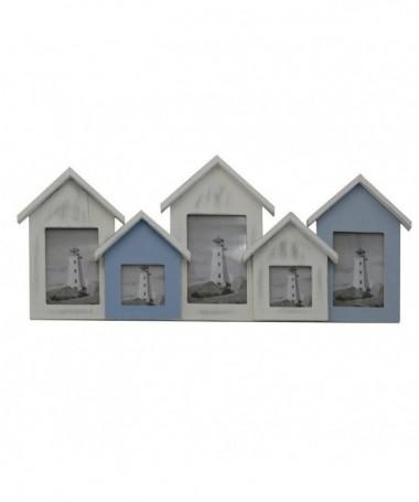 Portafoto mare legno cabine multiplo 5pcm60x3,5h26
