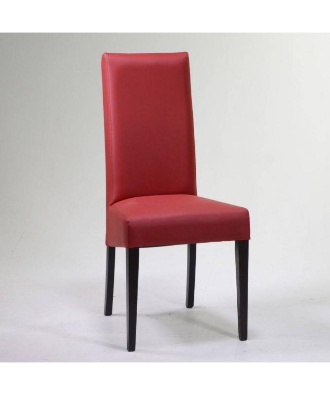 Sedia in ecopelle e faggio - set da 2 rosso