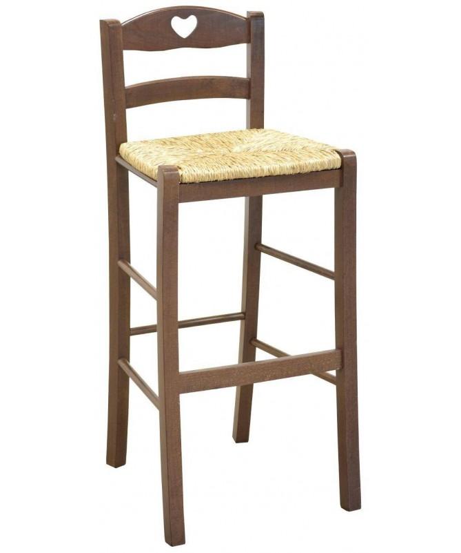 Sgabello in legno impagliato con schienale