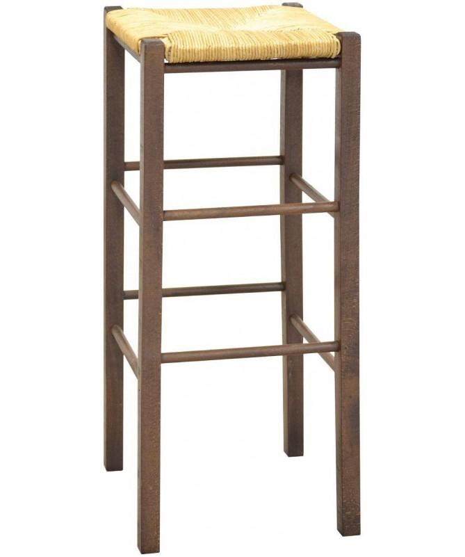 Sgabello alto in legno impagliato