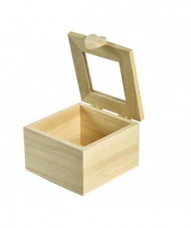 Scatole quadrate in balsa con cuore - 96 pezzi