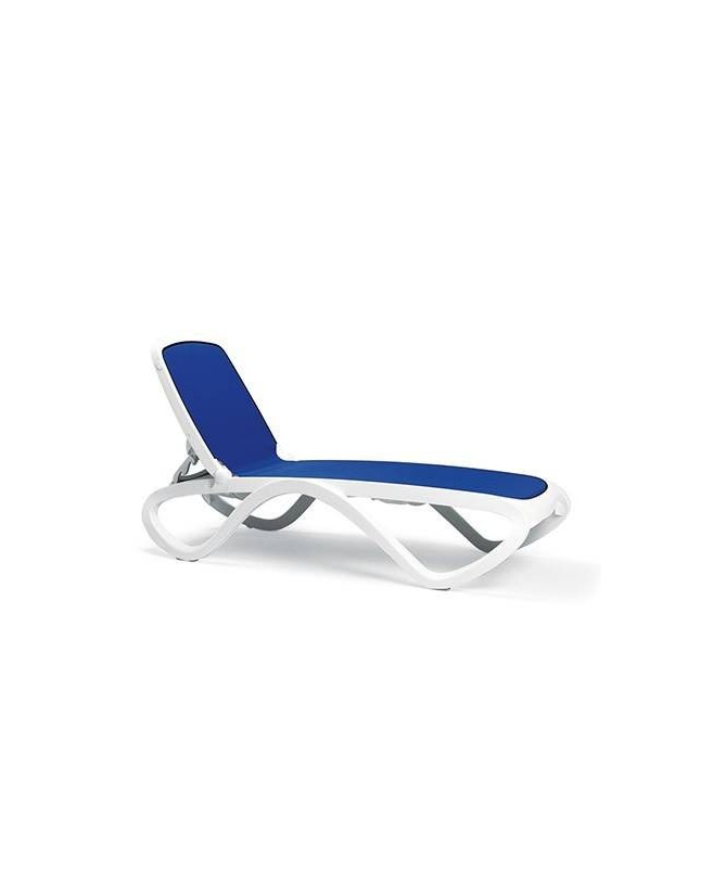Lettino Omega in polipropilene Made in Italy - set da 2 bianco blu