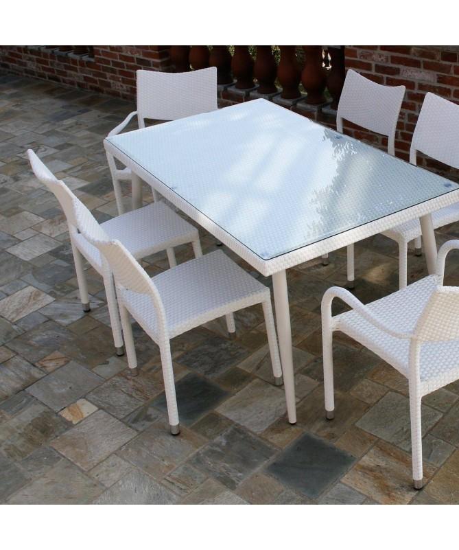 Tavolo Adila in polyrattan con vetro 160 x 90 - bianco