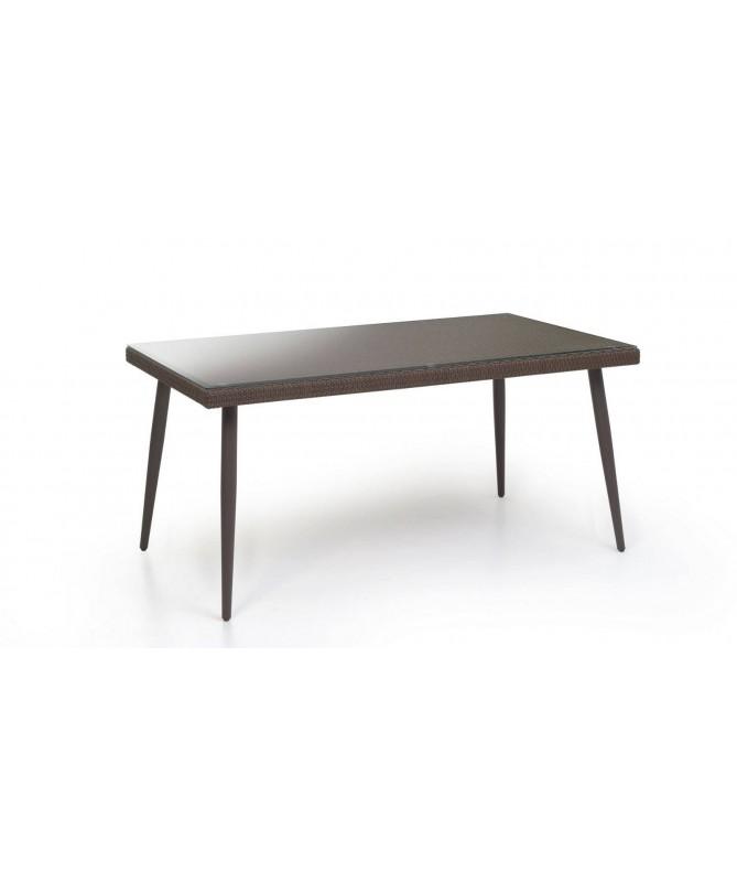 Tavolo Adila in polyrattan con vetro 160 x 90 cm - noce