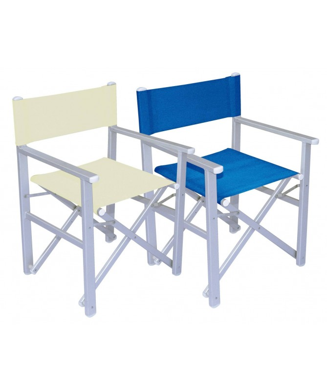 Sedia Regista da mare in alluminio - set da 2 blu
