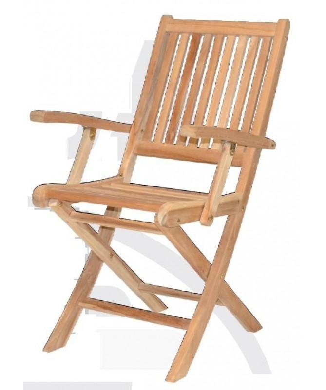 Sedia pieghevole in legno Teak con braccioli set da 2 di preda