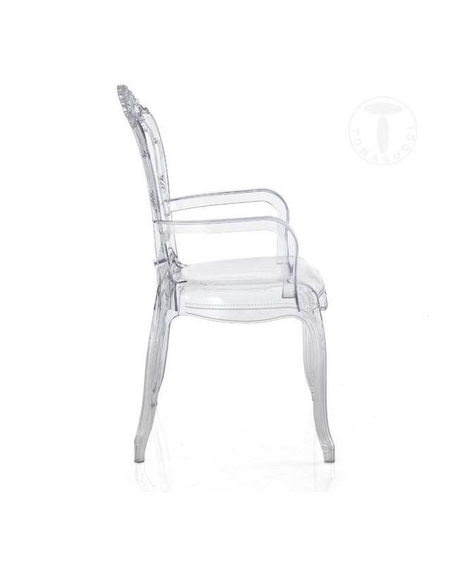 Sedia in policarbonato con braccioli Monaco - set da 2