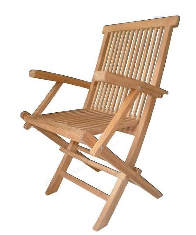 Sedia pieghevole B in legno Teak con braccioli - set da 2