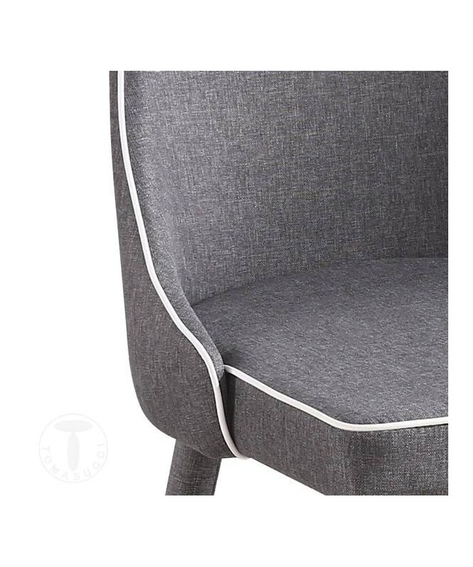 Sedia imbottita Ketty in tessuto - set da 4 grigio