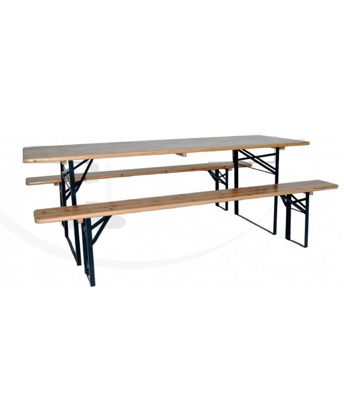 Tavolo con due panchine in legno e metallo 180 cm