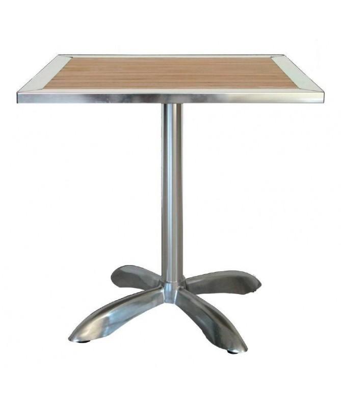 Tavolo Saragozza in alluminio e legno - 70 x 70 cm