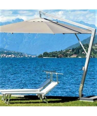 Ombrellone palo laterale Fibrasol silver Basic Made in Italy - 300 x 400 cm