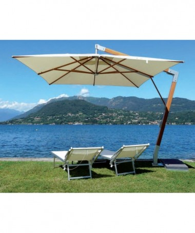 Ombrellone palo laterale Fibrasol wood Plus Made in Italy - 350 x 350 cm