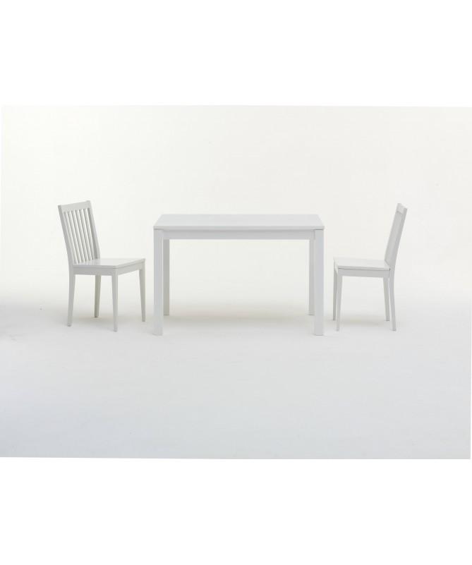 TAVOLO MYKONOS ALLUNGABILE con piano vetro laccato e struttura laccato bianco MADE IN ITALY