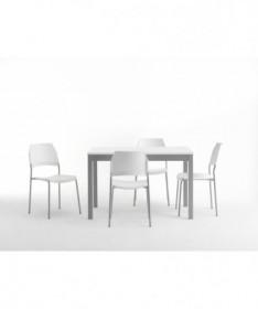 TAVOLO URANO ALLUNGABILE, piano in nobilitato bianco e gambe laccato alluminio MADE IN ITALY