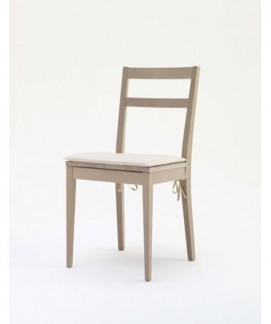 SET 4 SEDIE CALL struttura e seduta in faggio rovere grigio beige, MADE IN ITALY