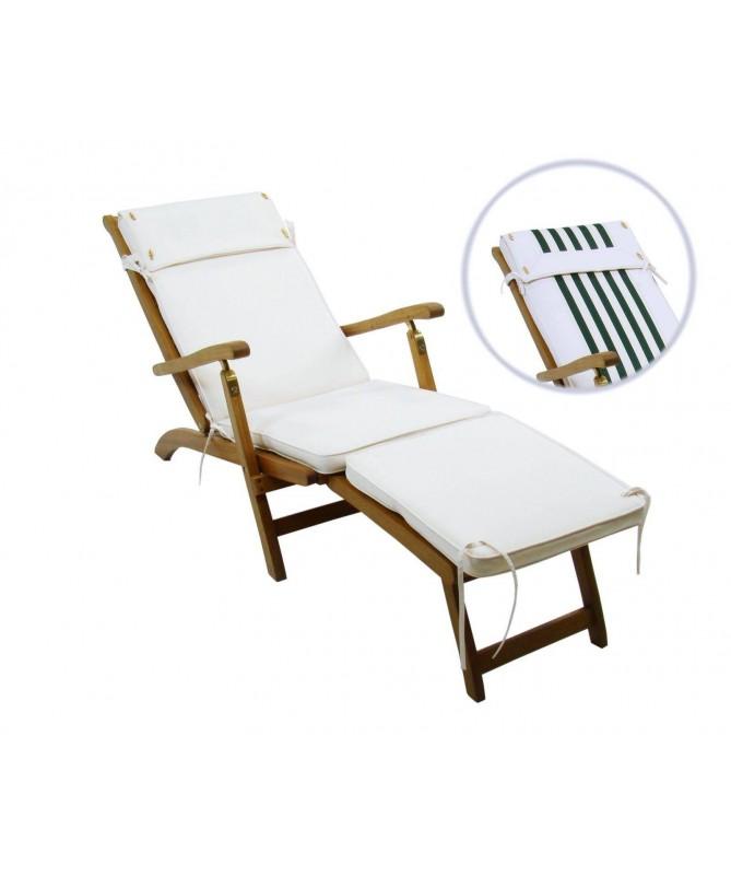 Cuscino per sdraio Viet - ecru/righe verdi
