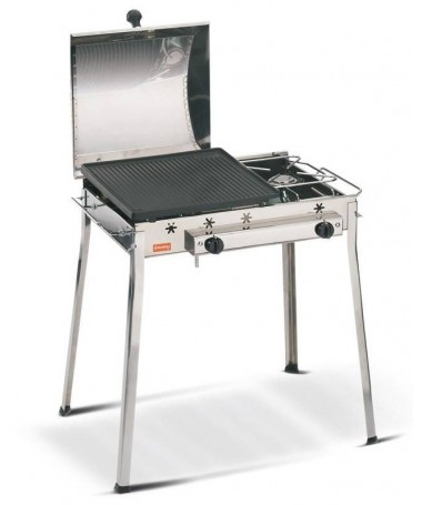 BARBECUE GHISA GAS COMBINATO MADE IN ITALY INOX