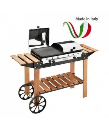 BARBECUE GHISA GAS LEGNO INOX MADE IN ITALY