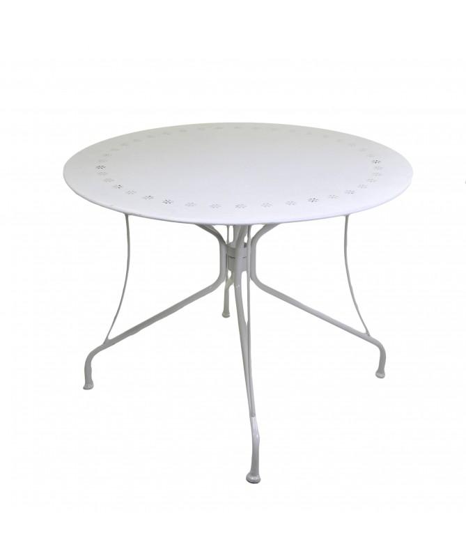 Tavolo in ferro Old tondo - bianco