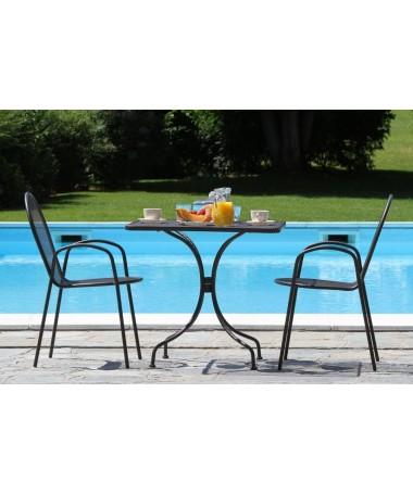 Tavolo da giardino in ferro Ronna - noce