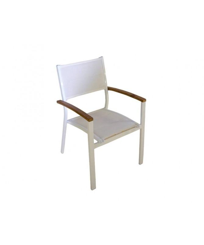 Sedie Da Esterno Legno.Set 4 Sedie Da Esterno Alluminio E Legno Di Teak