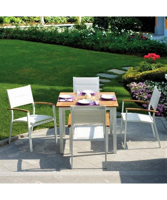 Sedie In Alluminio E Legno.Set 4 Sedie Da Esterno Alluminio E Legno Di Teak