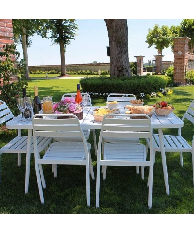 Tavolo da giardino in alluminio Las vegas - bianco