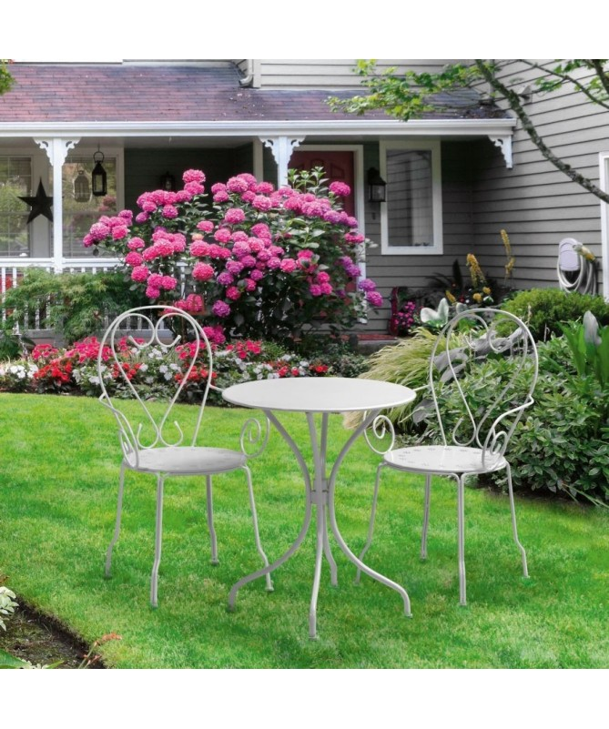Tavolino rotondo da giardino in ferro Old - bianco