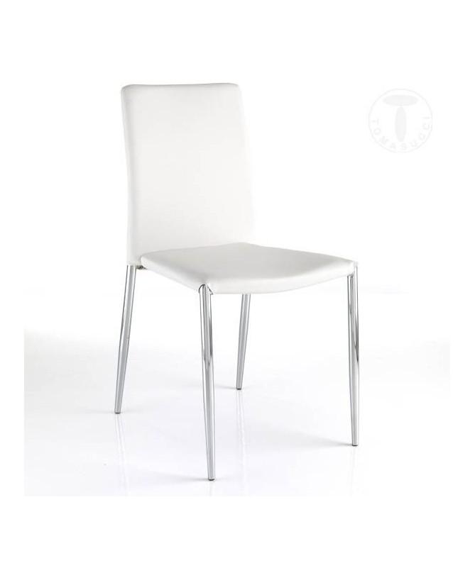 Sedia in pelle sintetica Well - set da 4 bianche