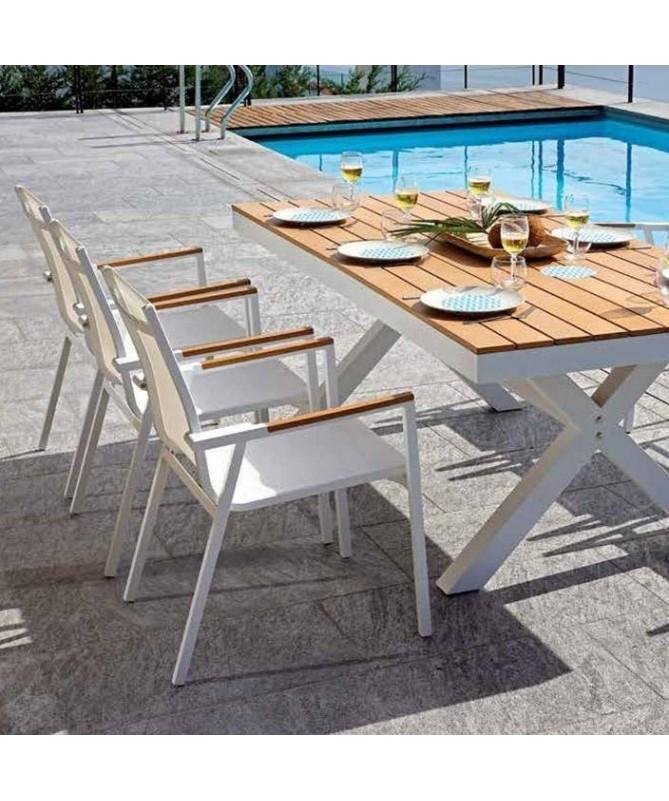 Sedia Populonia in alluminio e resin wood - set da 2 bianco
