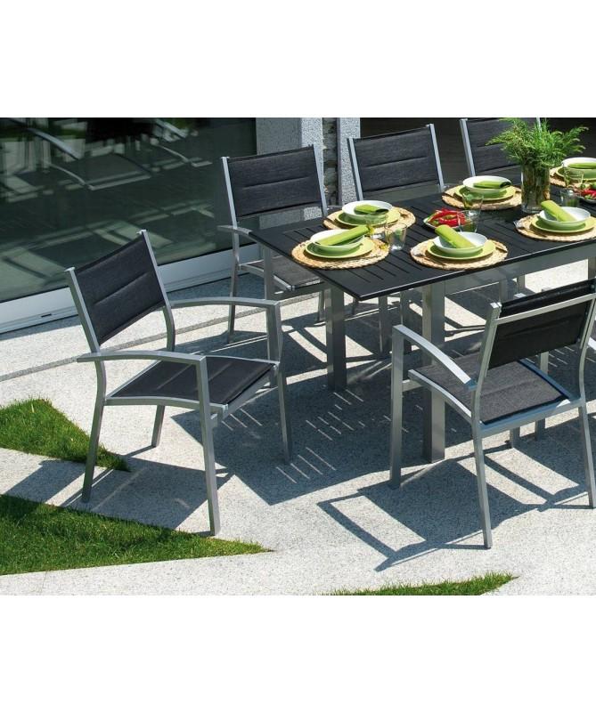 Sedia Amalfi in alluminio e textilene - set da 2 nero