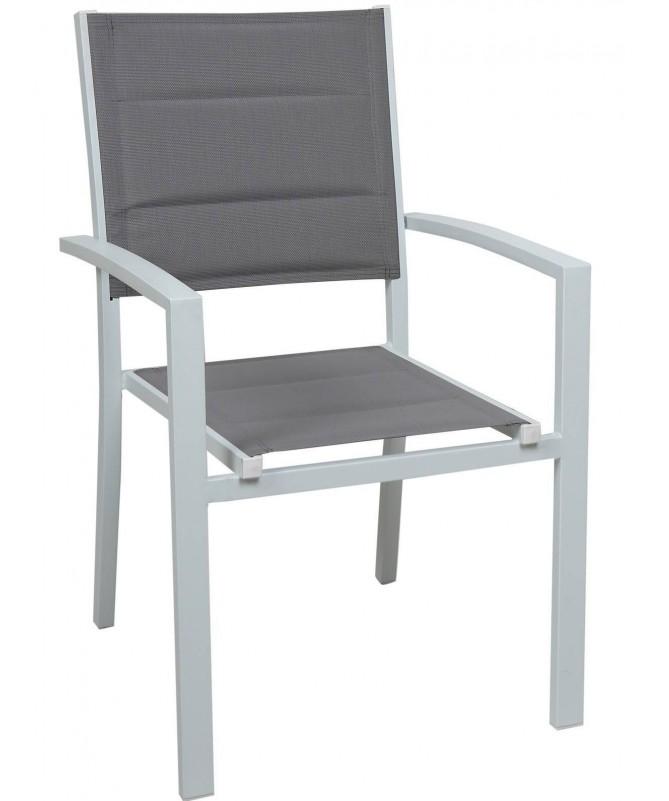 Sedia Segesta in alluminio e textilene - set da 2 grigio