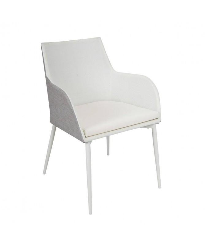 Poltrona Voltri in alluminio e textilene - bianco